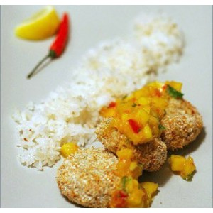Тайський рибні котлетки з сальсою і манго