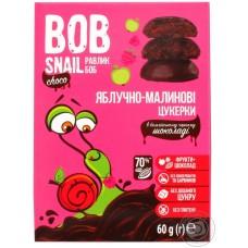 Цукерки яблучно-малинові натуральні у чорному шоколаді без цукру Bob Snail 60г