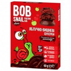 Цукерки яблучно-вишневі натуральні у чорному шоколаді без цукру Bob Snail 60г
